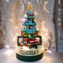 DIY Building Blocks Music Box Christmas Tree Model Desktop Decoration Ornaments Gift box For Woman K