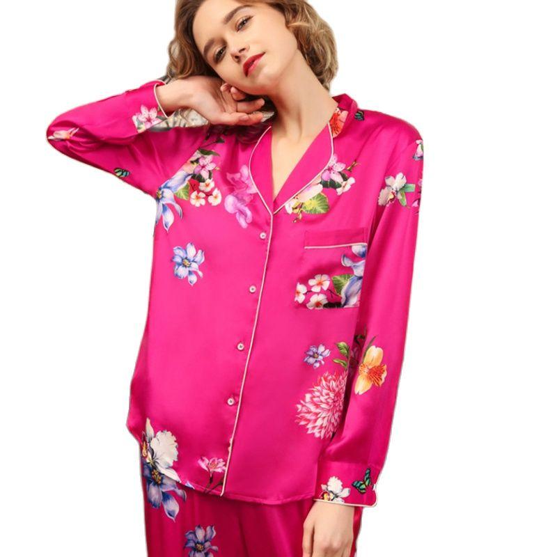 Real Silk Pajama Female Spring Autumn Silkworm Silk Long-Sleeve Sleepwear Woman Rich Red Two-Piece Pyjama Sets T8182