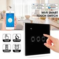 1 2 3 Gang intelligent tactile-commutateur WiFi RF APP telecommande commande vocale par Amazon Alexa Google Assistant IFTTT pour la maison lampe LED
