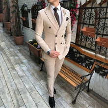 2020 New Beige Men's Suit 2 Pieces Double-breasted Notch Lapel Flat Slim Fit Casual Tuxedos For Wedd