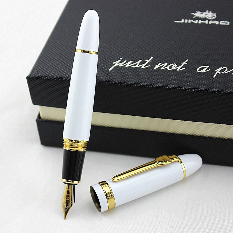 JINHAO 159 European metal Fountain Pen Iridium Medium Nib Ink Pen, Noble white Color for Office Business Gift Supplies new jinhao 159 fountain pen iridium fine nib 0 5mm excellent fashion office writing gift pen for business
