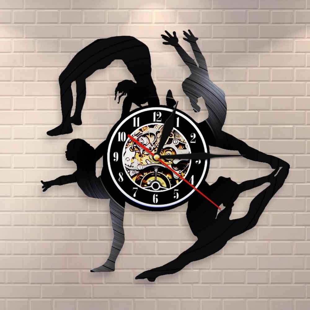 Ginástica meninas silhuetas relógio de parede esportes menina tumbling vinil record clock ginasta arte da parede sala de dança decoração da parede