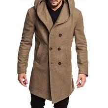 Trench-coat à double boutonnage pour hommes   Veste à capuche, pardessus décontractés en laine, vêtements 2019