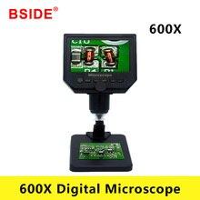 BSIDE 600X مجهر رقمي مجهر فيديو إلكتروني 4.3 بوصة شاشة كمبيوتر محمول ذات دقة عالية لحام مجهر إصلاح الهاتف المكبر + حامل