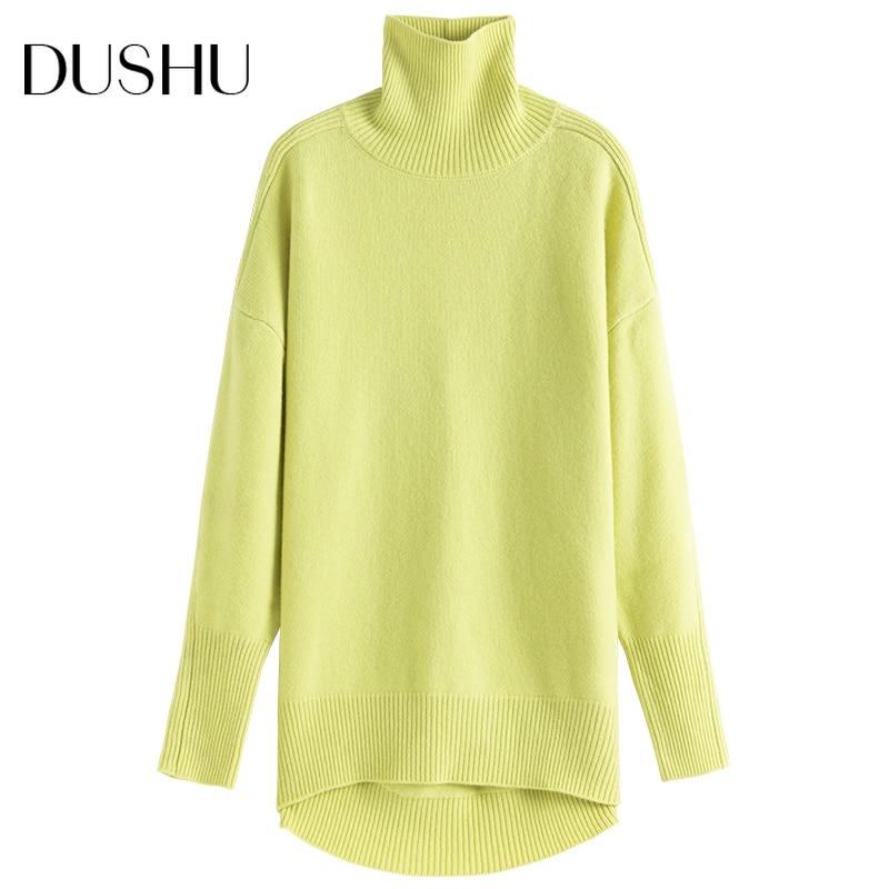 DUSHU Big Size 100% Wool Knitted Sweater Women Fluorescent Oversized Turtleneck Pullover Autumn Winter Vintage White Jumper Top enlarge