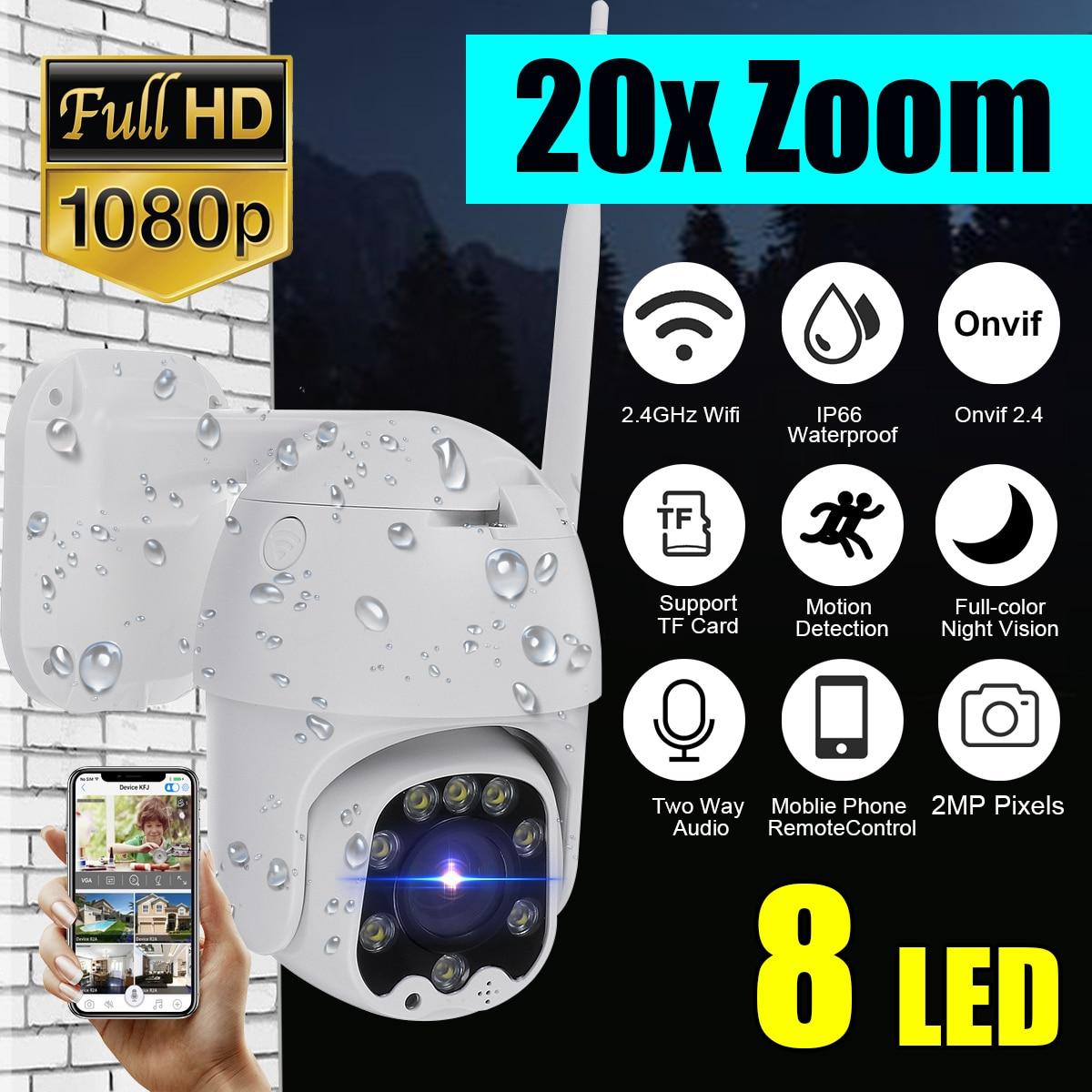 Zoom 20X, cámara impermeable WiFi Pan/Tilt 1080P HD IP IR, visión nocturna a todo Color, cámara de vigilancia PTZ, cámara IP