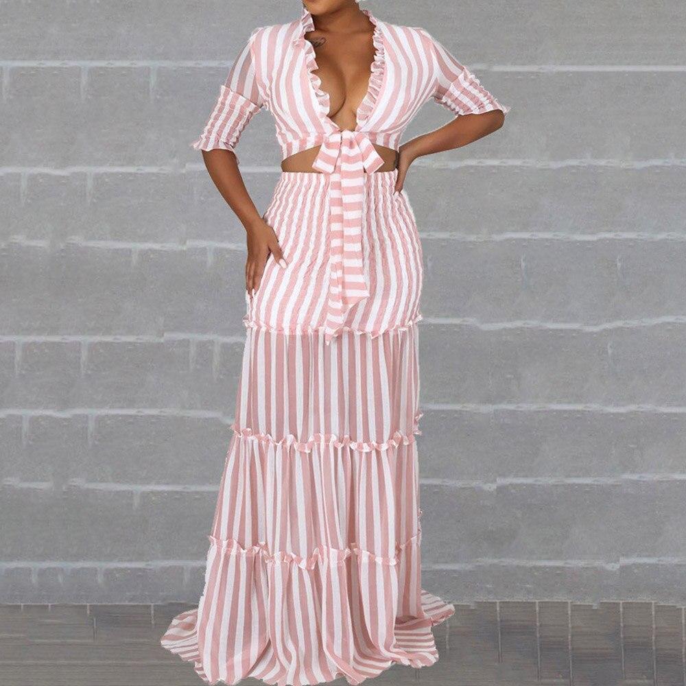 Conjuntos de dos piezas a la moda de rayas, conjuntos de chifón rosa, Blusa con volantes y encaje, falda larga, tiro alto, conjunto de oficina y fiesta