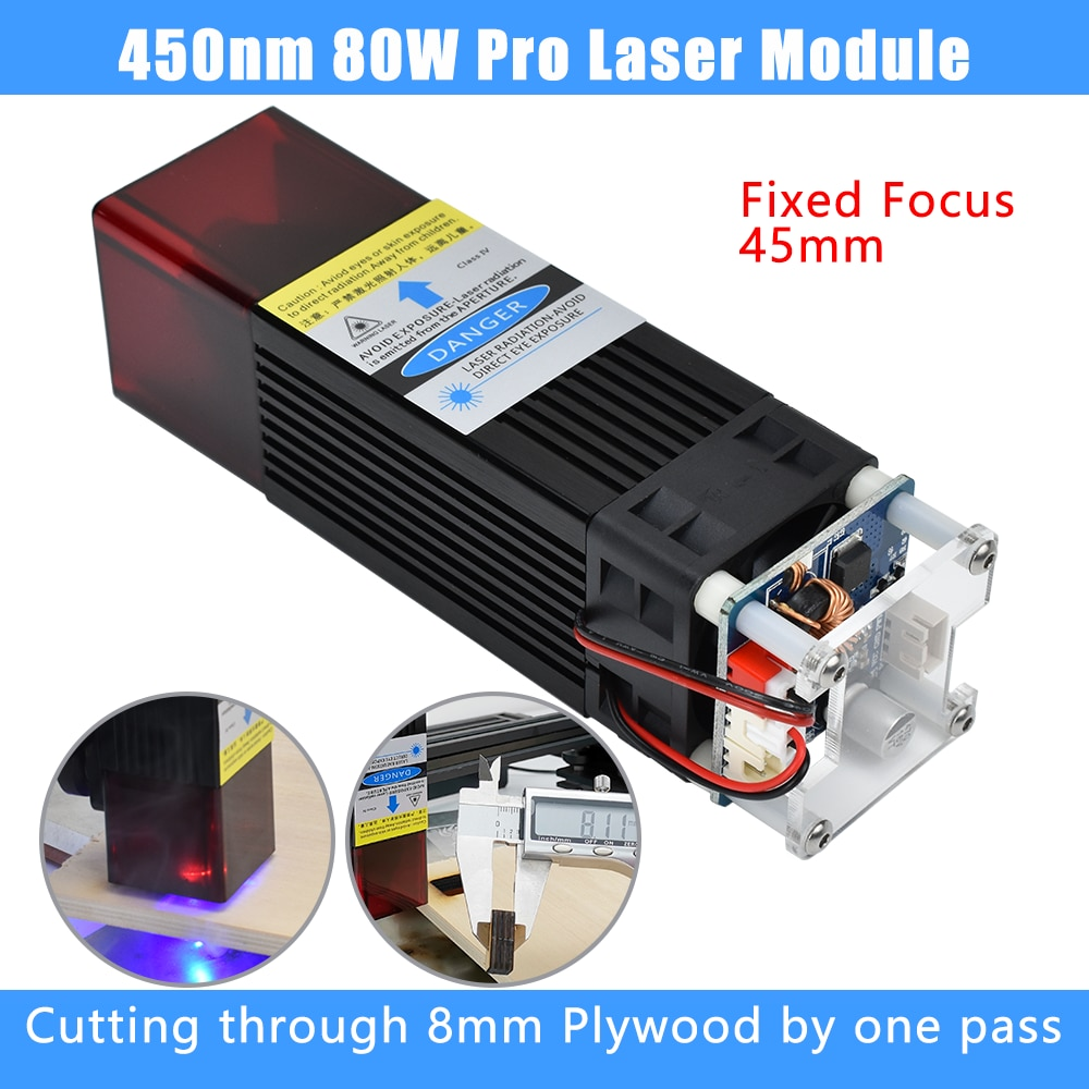 80W Laser Head Module for CNC Cutting Engraving Machine 450nm Focal Fixed Compressed Spot Technology Wood Tool with Safety Cover