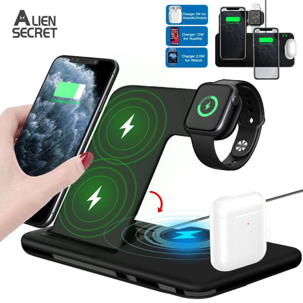 charging dock station stand holder for airpods ipad air mini apple watch for iwatch 38 42 40 44mm for iphone x xr xs max 8 7plus 15W Qi Fast Wireless Charger Stand For iPhone 11 XR X 8 Apple Watch 4 in 1 Foldable Charging Dock Station for Airpods Pro iWatch