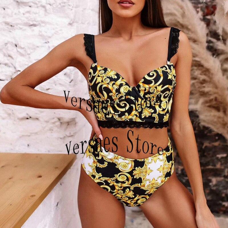 2021 luxury design retro print fashion women's bikini suit sexy lace suspender underwear + high waist pants split body swimsuit