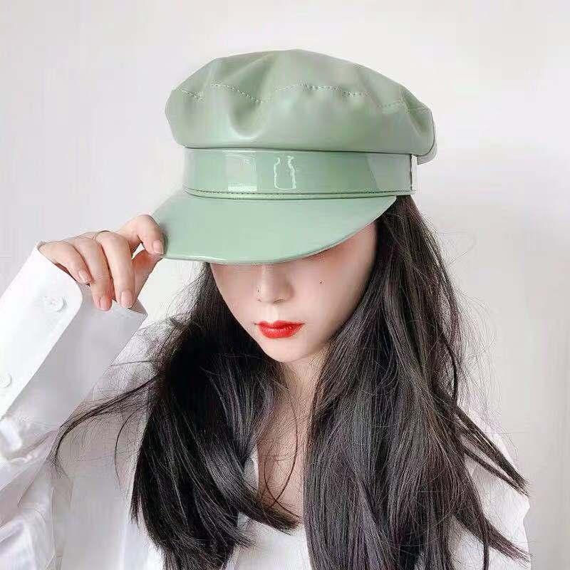 01908-ting007 Avocado 4 color green faux leather fashion lady  VISORS cap men  women leisure  hat