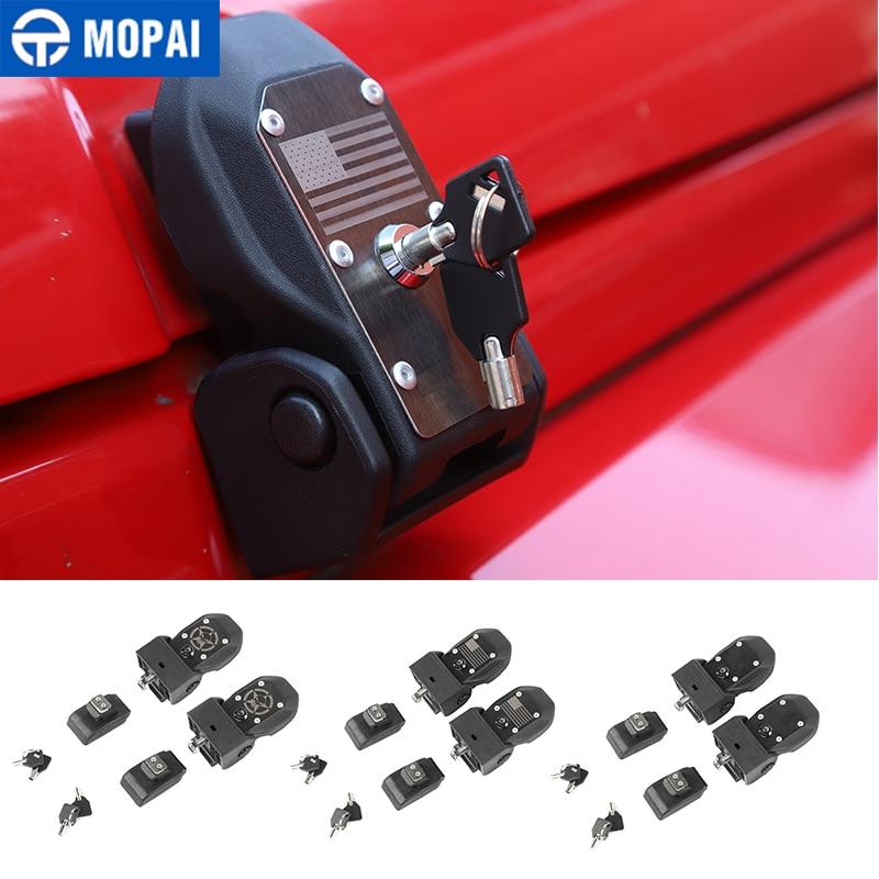MOPAI Locks Hood for Wrangler JK Car Engine Hood Latch Catch With Key Lock for Jeep Wrangler JK 2007-2017 Exterior Accessories
