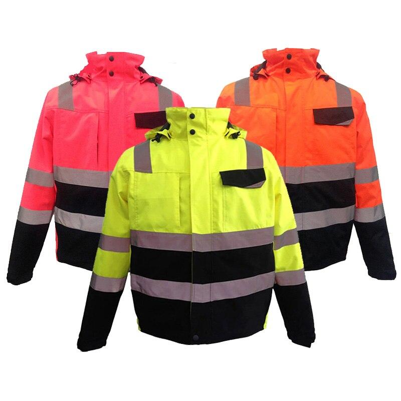الرجال ملابس العمل سترة الشتاء عاكسة وضوح عالية سترة الشتاء EN471/ANSI مقاوم للماء سترة الشتاء شحن مجاني