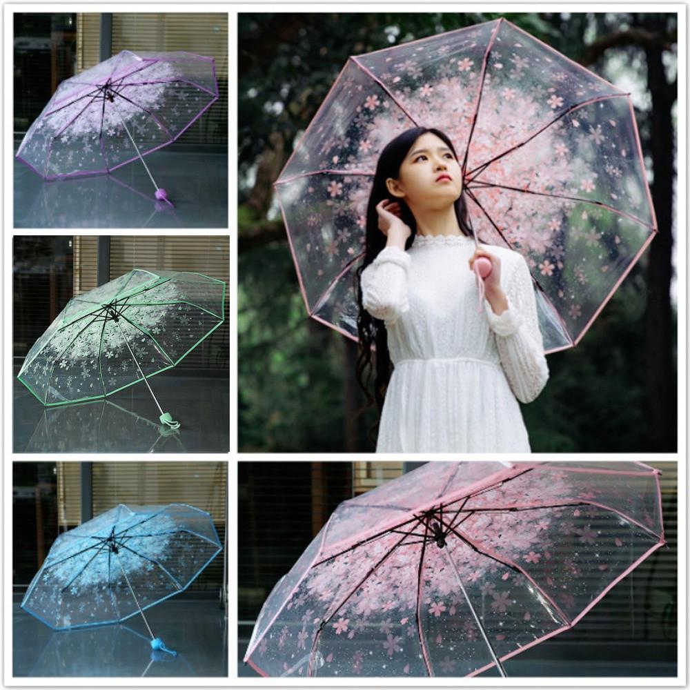 Автоматический зонт, прозрачный зонт с цветком вишни, прозрачный складной зонт тройного сложения