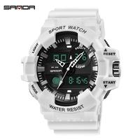 SANDA S Белый часы светодиодный спортивные Водонепроницаемый, мужские наручные часы, многофункциональные ударной цифровые часы Мужские кварц...
