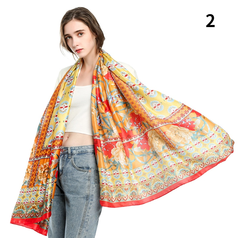 Spring/summer New Scarf Shawl Silk Satin Mosaic Printed Scarves Ladies Cashmere In Autumn and Winter