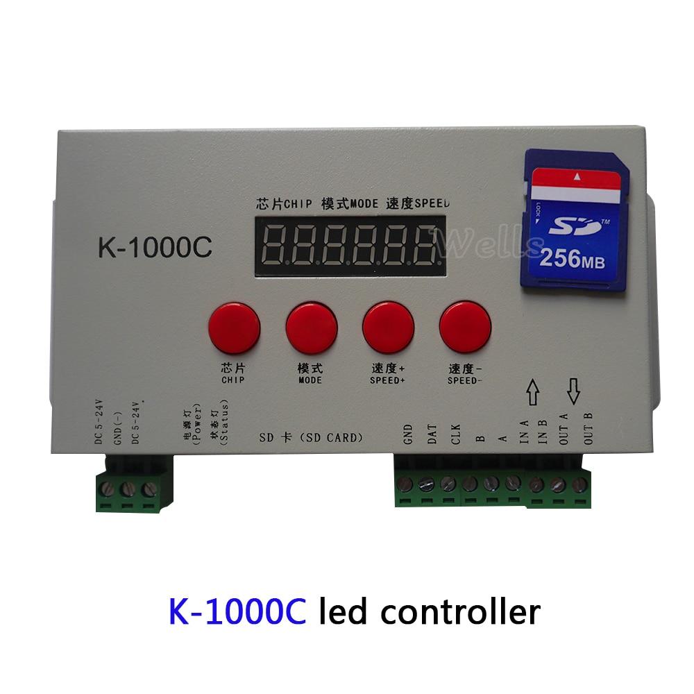 Pixels Program Controller Free shipping K-1000C (T-1000S Updated) controller WS2812B,WS2811,APA102,2813 LED 2048 DC5-24V enlarge