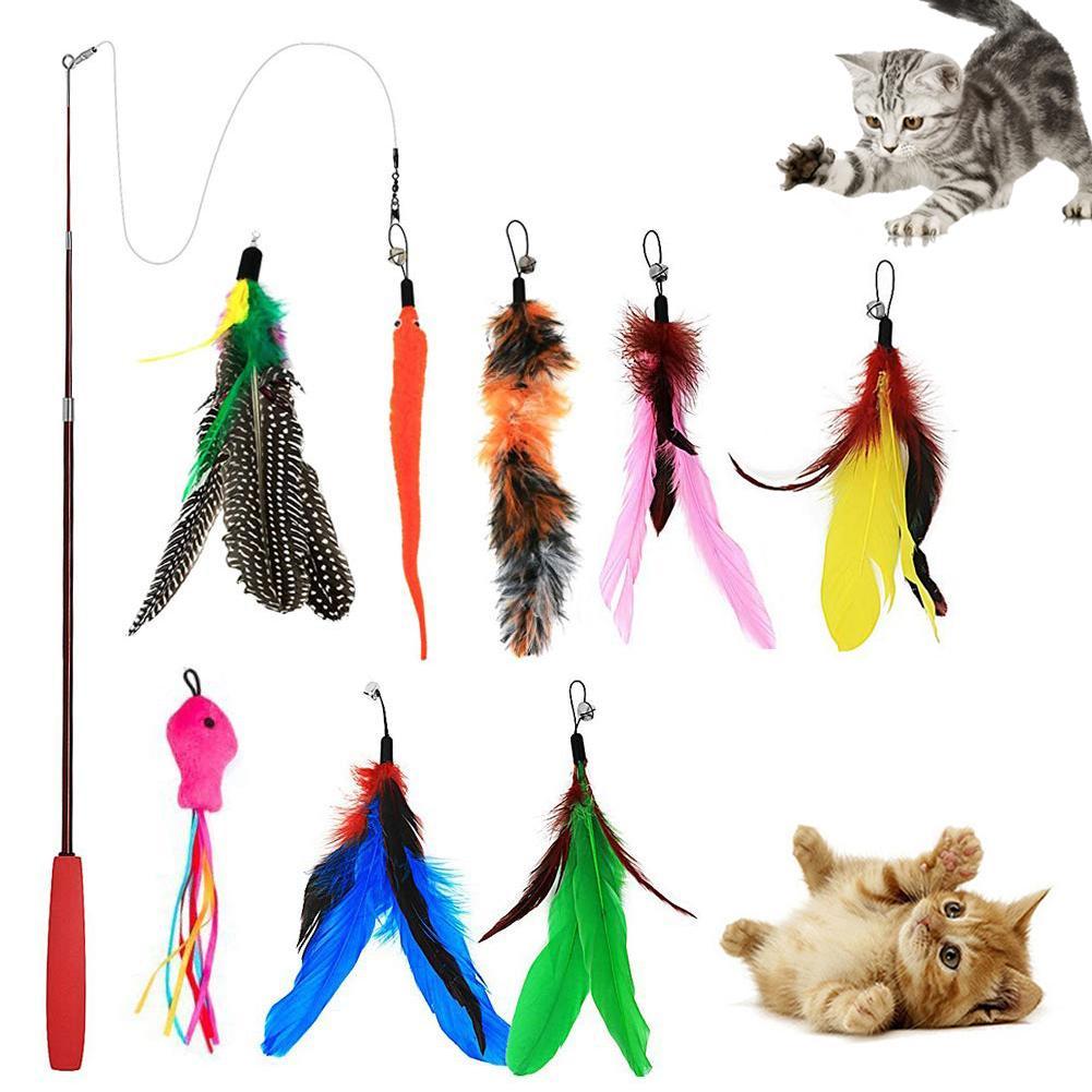 9 piezas Pet Cat Teaser campana pluma estiramiento caña de pescar juego varita interactiva juguete Venta caliente