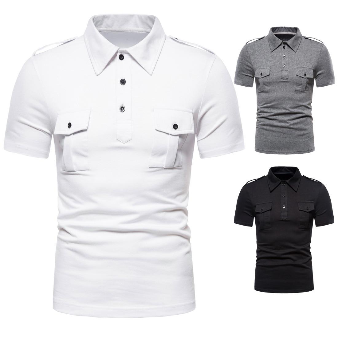 Polos nova marca casual cor sólida duplo bolso polo carga treinamento de combate camisa polo para homens verão topos