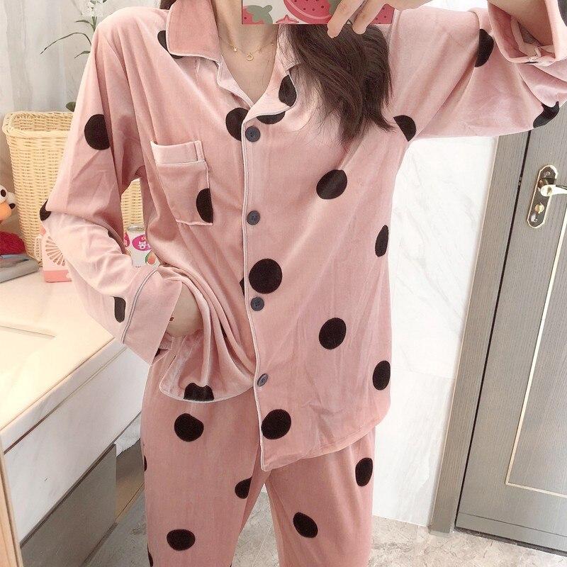 Pink Velour Women 2pcs Pajamas Set Sleepwear Autumn Winter Bathrobe Nightwear Casual Soft Home Clothes Lady Velvet Shirt&pant