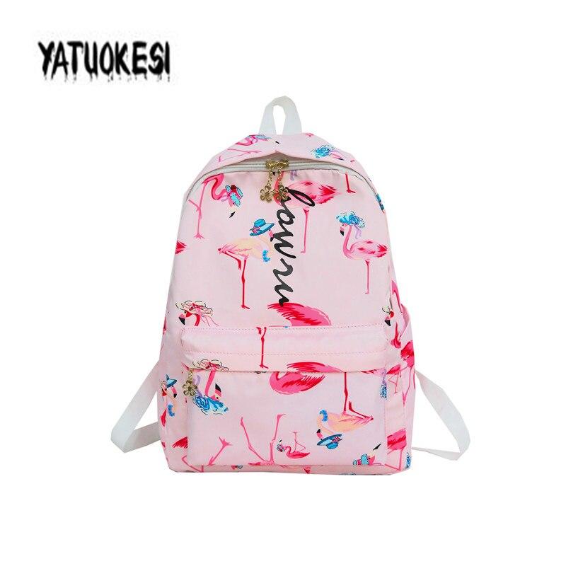 Yatuokesi japonês & coreano harajuku estilo mochila com impressão de frutas flamingo pequeno fresco mochilas mujer 2020