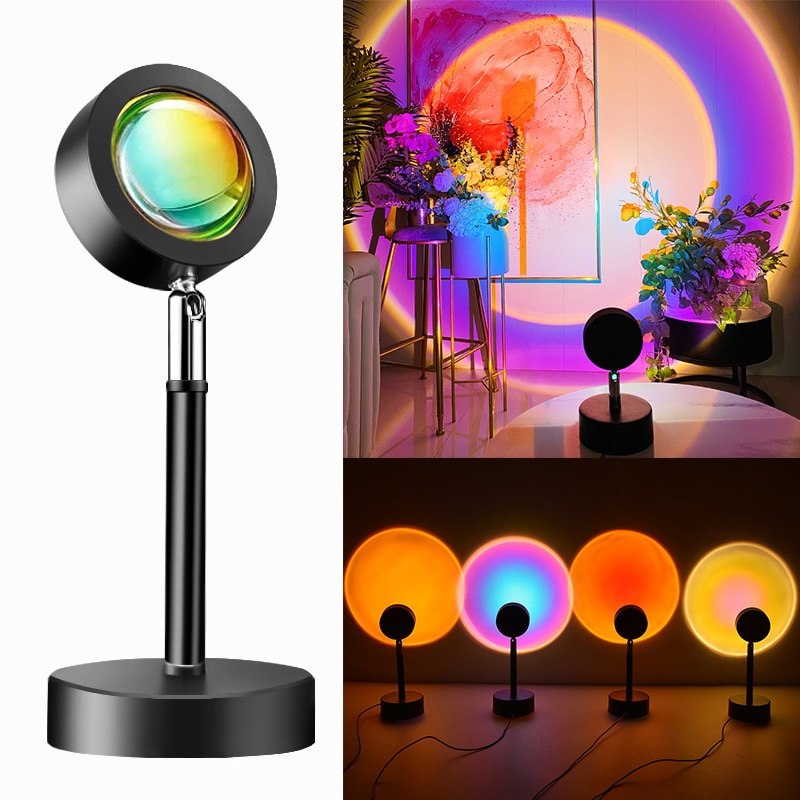 USB Sunset Projection Lamp Rainbow Atmosphere Led Lamp Sunset Desk Lamp for Bedroom Decor Coffe Shop Wall Decoration Night Light