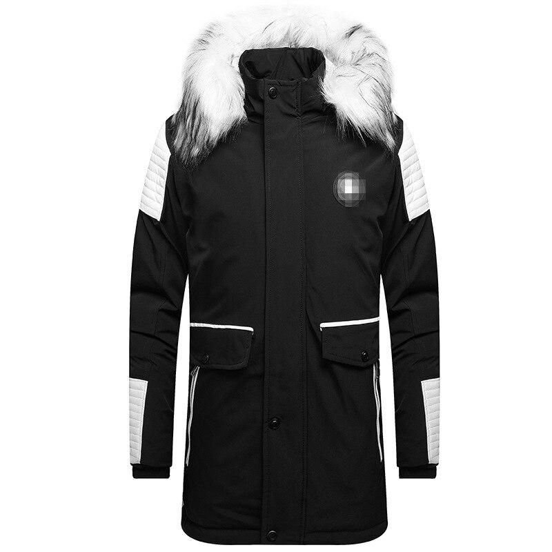 European and American Big Fur Collar Men's Mid-length Cotton Jacket Thicken Coat