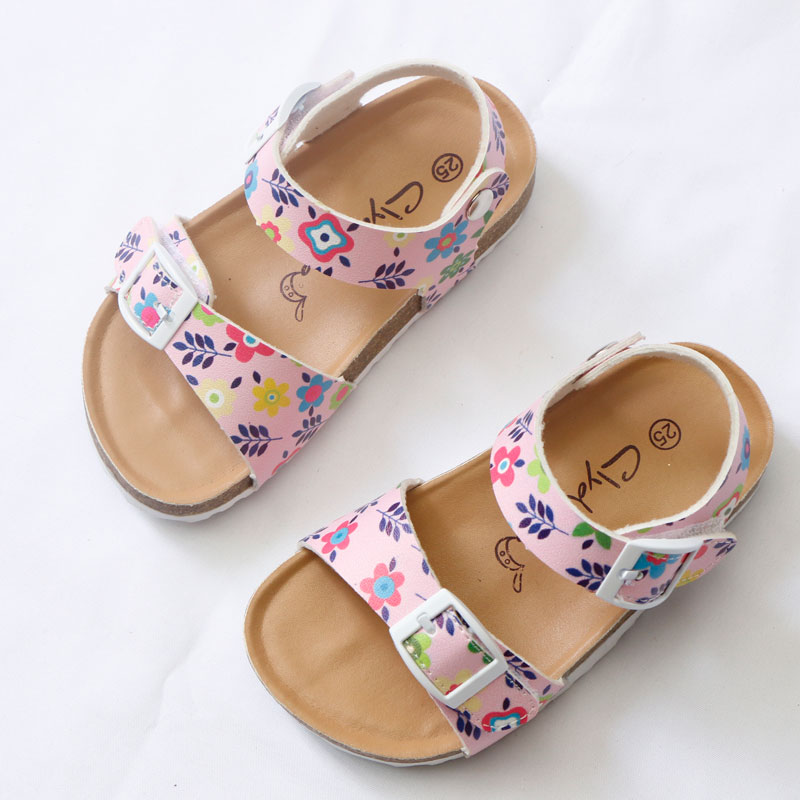 2020 Summer Girls Sandals Printing Pu Leather Corks Open Toe Slides Flats with Little Girl Shoes for