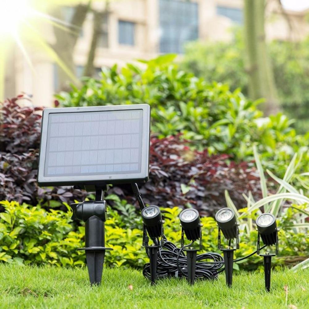Solar LED Lights One For Four Outdoor Waterproof Lighting Gardening Underground Spotlight 5 Meter Long Lawn Lighting Control enlarge