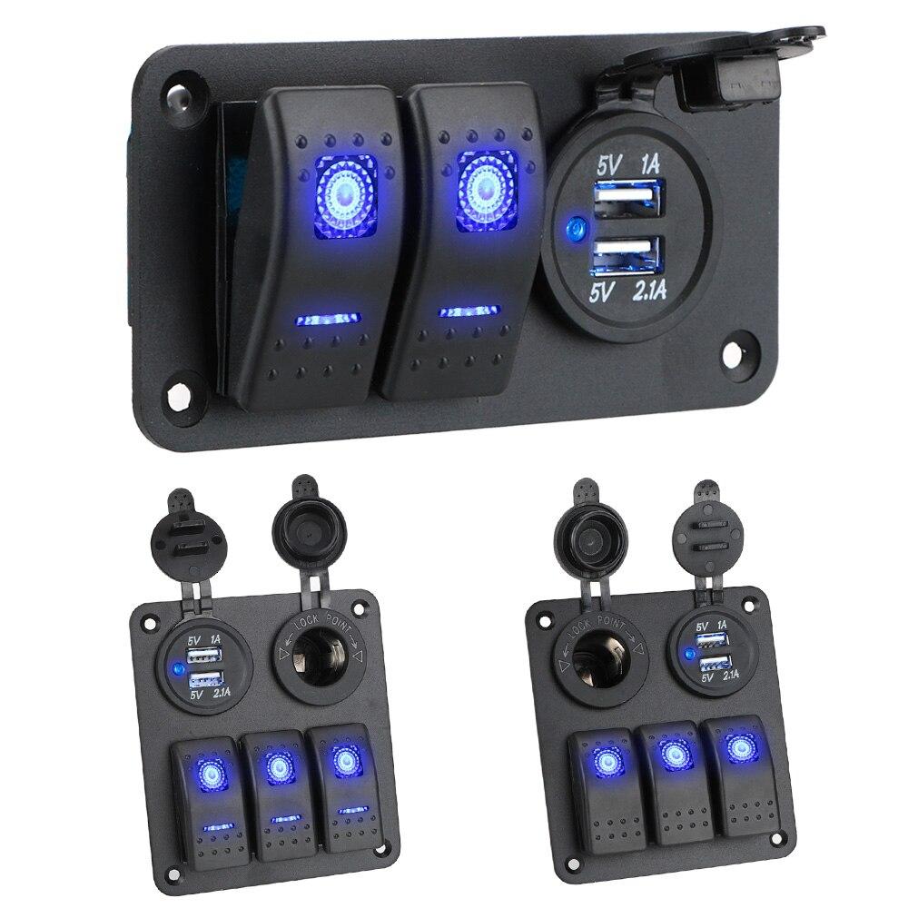 Leepee 2/3 gang 12 24 24v interruptor de balancim painel interruptor interruptor circuito protetor tomada com carga usb para acessórios do carro marinho interior