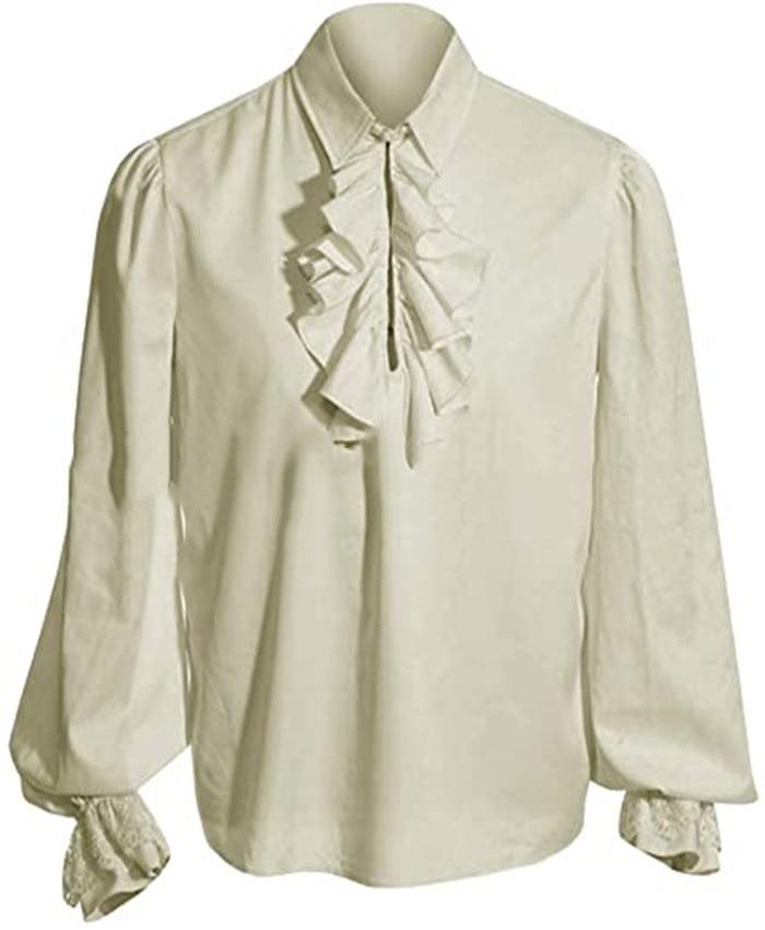 الرجال متوترة القوطية قميص مع Steampunk القرون الوسطى خمر القراصنة الفيكتوري زي هالوين تنكري
