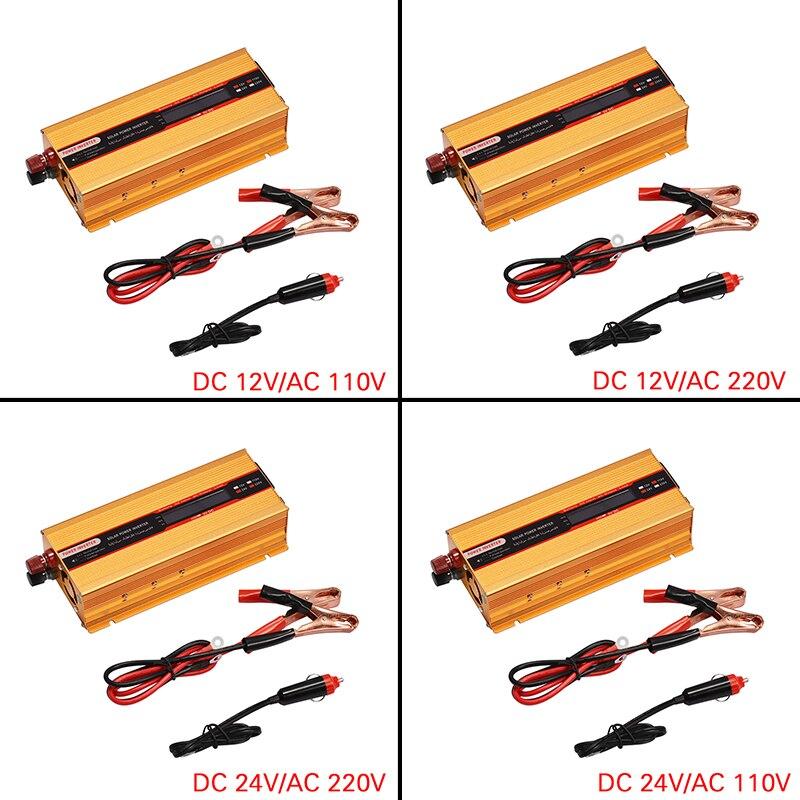 6000W רכב כוח מהפך 12/24V כדי AC 220/110V ממיר USB שונה סינוס גל עומס יתר הגנה גבוהה המרה חסון
