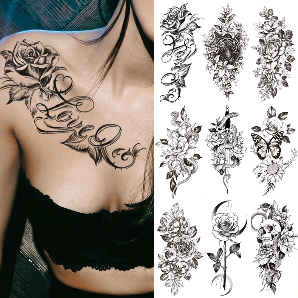 Waterproof Temporary Tattoo Sticker I Love You Flash Tattoos Lip Print Butterfly Flowers Body Art Arm Fake Sleeve Tatoo Women