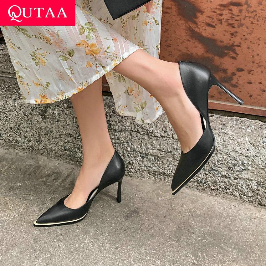 QUTAA 2021 الربيع الصيف أشار تو الضحلة النساء مضخات جلد طبيعي موضة رقيقة عالية الكعب جوفاء أحذية نسائية حجم 34-39