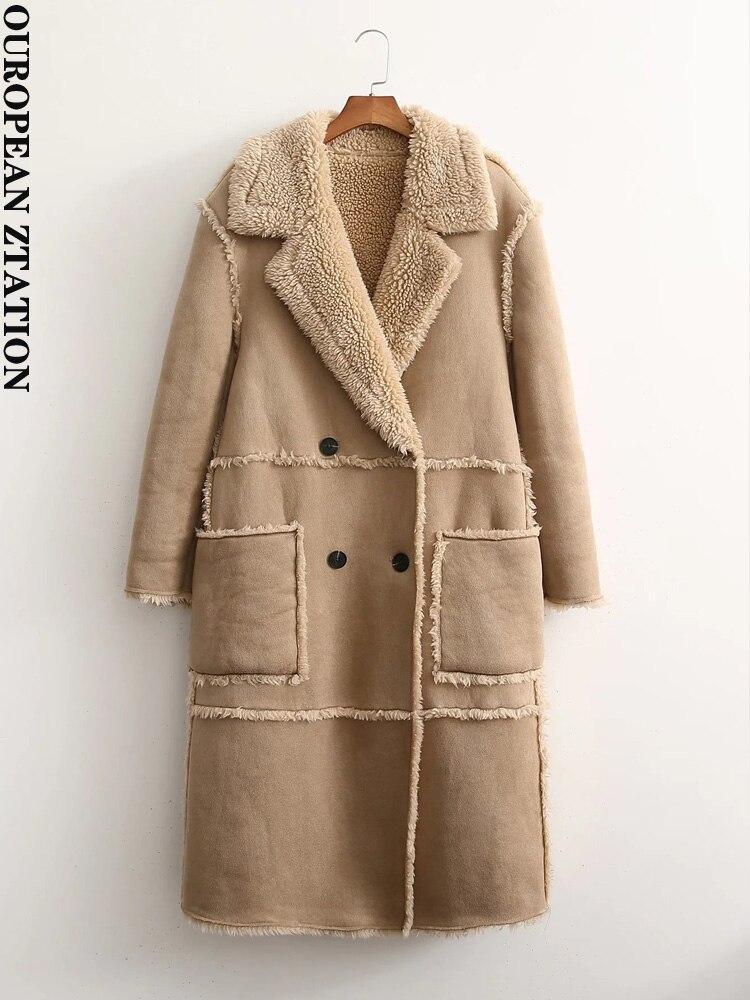 معطف أنيق للنساء موضة 2021 za بجيوب عتيقة بأكمام طويلة ملابس خارجية نسائية أنيقة