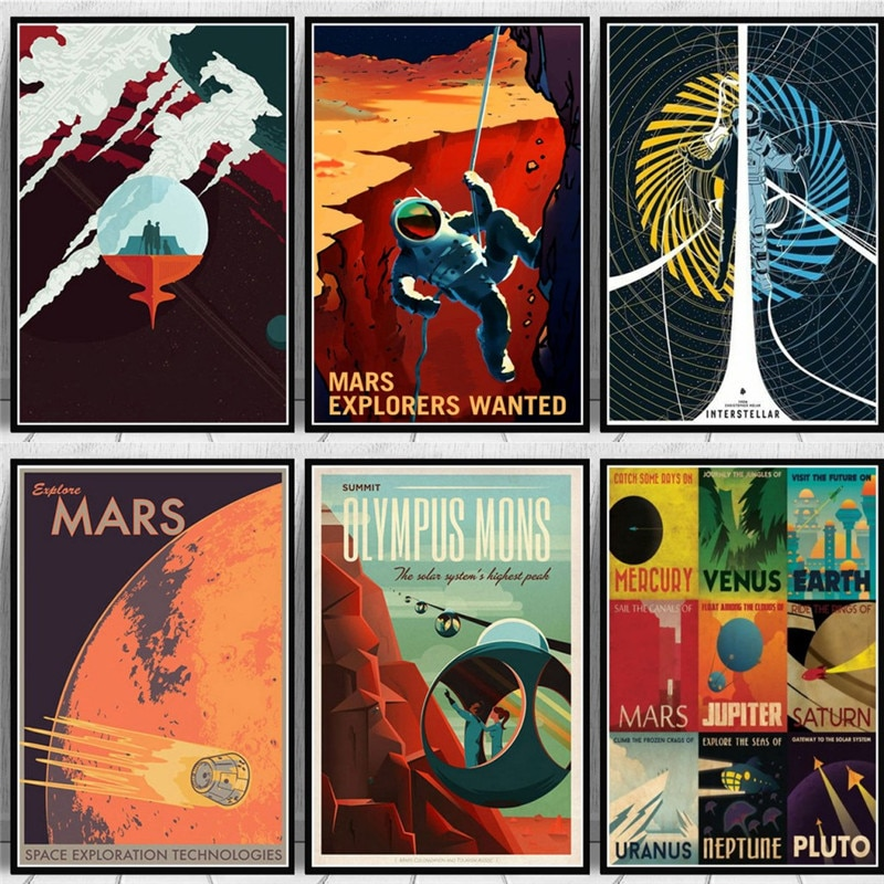 Художественная картина маслом на холсте, популярное пространство, путешествия, универсальный планет, Марс, кино, плакат и принты, настенные картины для гостиной, домашний декор