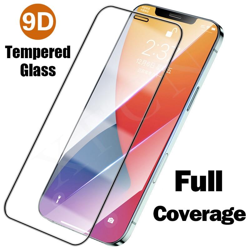 Protector de pantalla de vidrio de cobertura completa 9D para Iphone 12,...