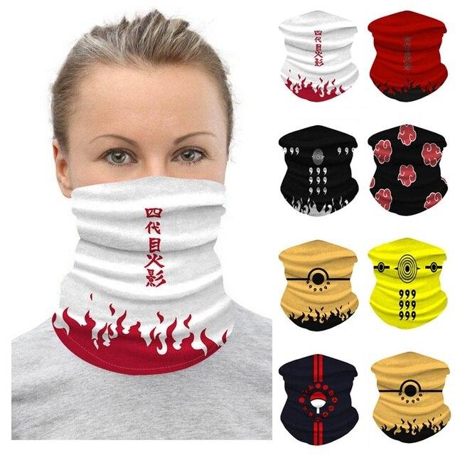 Bandana Anime Scarf Unisex Men Women Shawl Digital Printed Naruto Head Face Scarf Mask Outdoor Windproof Sports Cartoon Mask