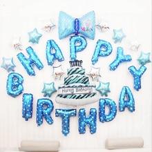 16 zoll Geburtstag Folie Brief Ballons Mini Bowknot und Kuchen Glücklich Geburtstag Party Dekoration Kinder Blau Rosa Ballon Event Liefert