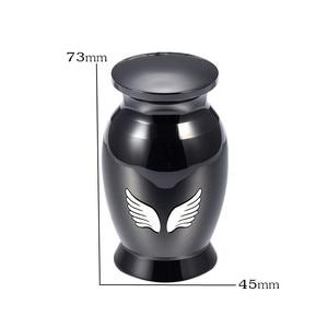 IJU026 Black Color Stainless Steel Angel Wing Cremation Memorial Keepsake Urns Hold Pet/Human Ashes,Custom Engrave Mini Urn/Jars