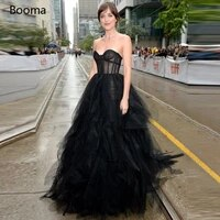 booma black ruffles tulle celebrity dresses sweetheart illusion corset a line long evening dresses red carpet formal gowns