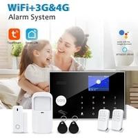KOOGOGO     Kit systeme dalarme de securite  wi-fi  GSM  4G 3G  pour maison connectee Tuya  anti-cambriolage  avec detecteurs sans fil 433MHz  activation et desactivation a distance