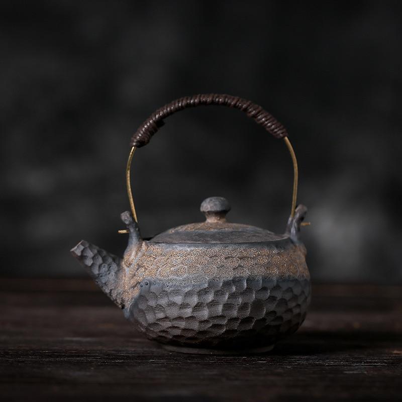 إبريق شاي مصنوع يدويًا من السيراميك ، على الطراز الياباني القديم ، مطرقة حجرية ، طقم شاي صيني تقليدي