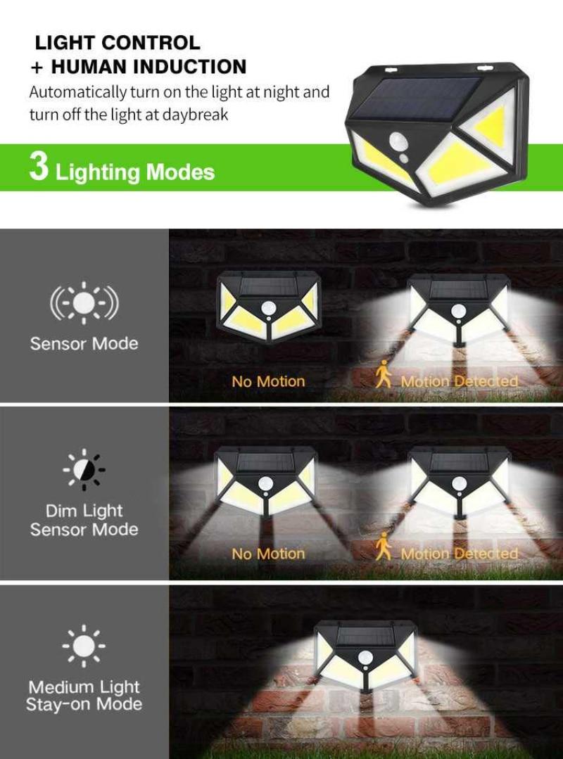 120 COB LED solar flood light with motion sensor outdoor led Wall Lights Waterproof floodlight Garden Spotlight IP65 Street Lamp