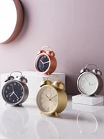 Vintage Simple Round Clock Quartz Retro Nordic Small Electronic Shabby Chic Auto Digital Smart Horloge Home Decor BY50ZZ