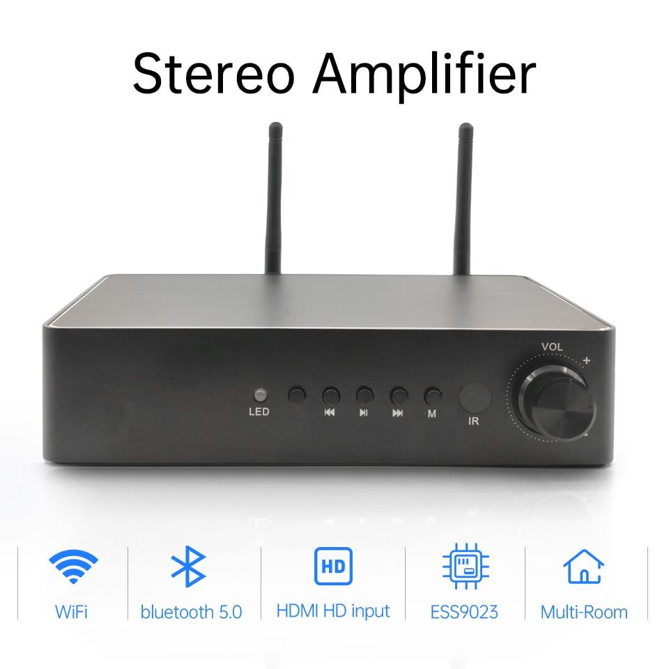 Цифровой мультикомнатный усилитель WA60 60 Вт * 2 ESS9023, Hi-Fi стерео усилитель с поддержкой Wi-Fi и Bluetooth класса D, с эквалайзером Spotify Airplay, бесплатное приложение