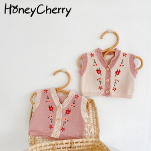 2021 Autumn girl infants 0-2 years baby cardigan sweater embroidered cotton knit V-neck vest jacket