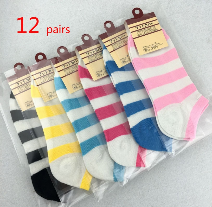 12 Pairs/Lot  Women's Socks Mixing Individually Wrapped Polyester Cotton Breathable Short Striped Girl Socks Factory Wholesale