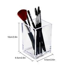 organizador escritorio organizador de maquillaje organizador maquillaje Organizador de cepillos de maquillaje transparente, caja de plástico para almacenamiento de cosméticos, mesa de escritorio, contenedor Acrílico or