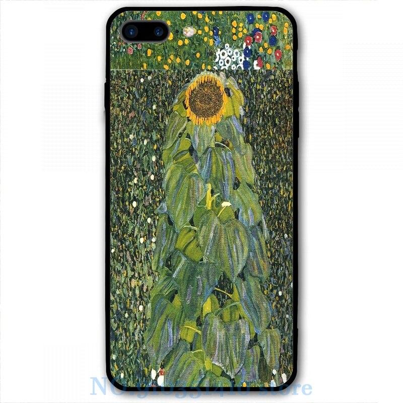 Gustav klimt-o caso do telefone do girassol 1907 para o iphone 12 pro 11 x xr xs max 8 7 6s mais 5S tpu macio vidro capa traseira